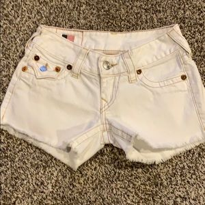 True religion white cut offs shorts Sz XS